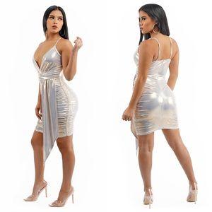 Beige Metallic Spaghetti Strap Mini Dress
